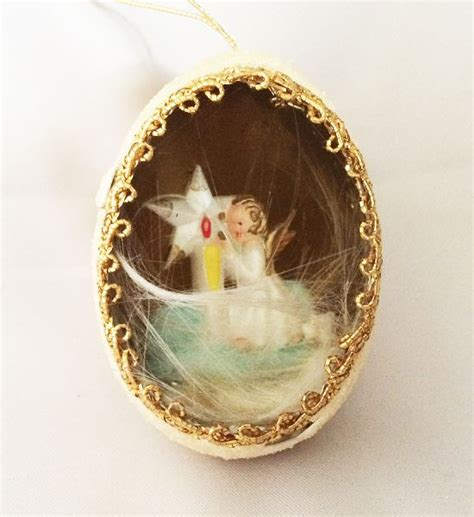 vintage diorama egg ornaments 1940s 1950s vintage genuine goose egg diorama ornament in clouds with jeweled
