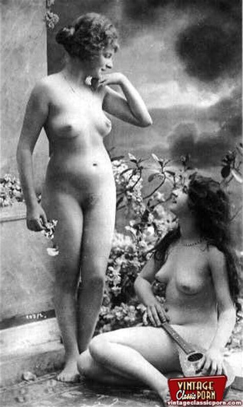 Vintage Lesbian Nude Chicks Enjoy Posing In XXX Dessert