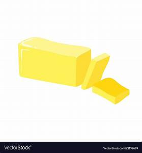 Stick of butter cut icon healthy eating cartoon Vector Image