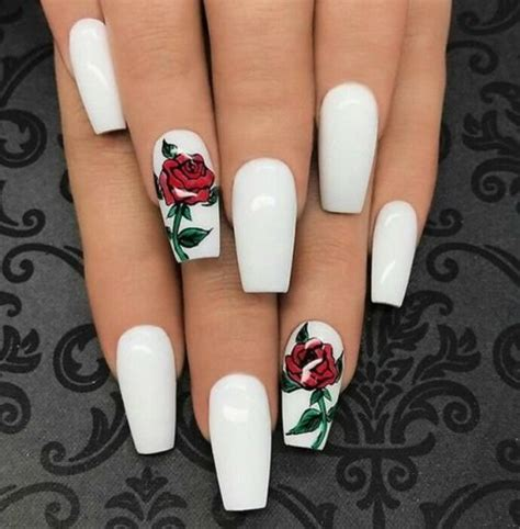 white nails  rose design pictures   images