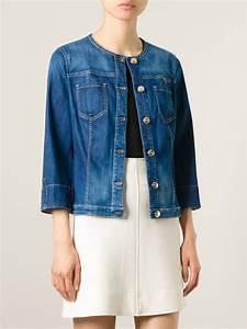 Lyst - Armani Jeans Collarless Denim Jacket in Blue