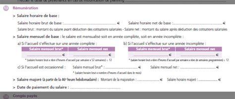 modele avenant contrat de travail changement fonction urssaf convention collective particulier employeur ccmr
