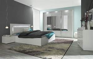 Komplett schlafzimmer panarea in hochglanz weiss mit for Schlafzimmer komplett weiß hochglanz