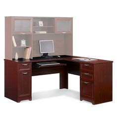 Realspace Magellan Collection L Shaped Desk Cherry by Realspace 174 Broadstreet Contoured U Shaped Desk 30 Quot H X 65