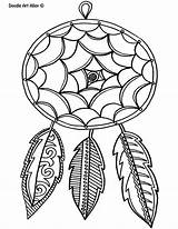 Feather Coloring Pages Doodle Alley Dreamcatcher Busy sketch template