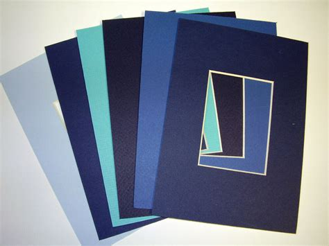 picture frame mat 5x7 for 3 5x5 photo set of six blues - 5x7 Photo Mats