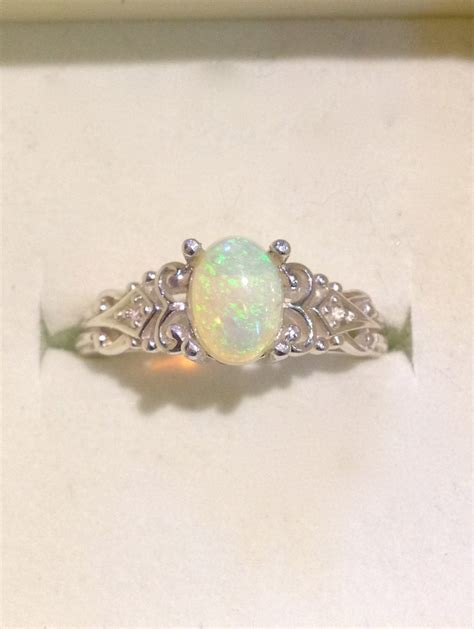 Opel Ring by Australian Opal Ring Vintage Style Opal Ring With Diamonds