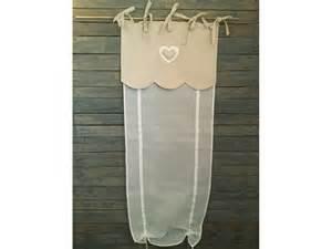 rideau store en voilage blanc et feston lin 192 coeur simla