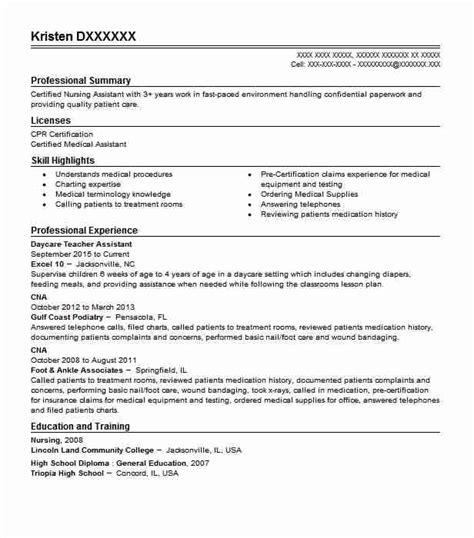 Daycare Assistant Resume by Daycare Assistant Resume Sle Livecareer