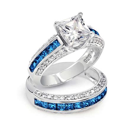 blue wedding ring sets blue engagement