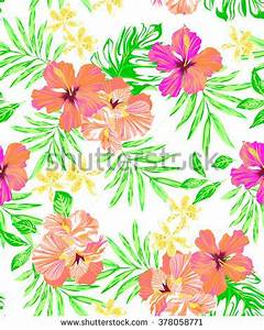 Set Tropical Flowers Leaves Watercolor Painting Stock