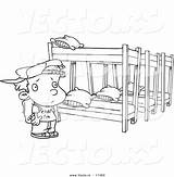 Coloring Bed Camp Bunk Cartoon Outline Summer Canopy Template Beds Sketch Boy sketch template