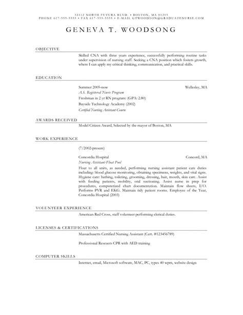 resume template resume template for cna cna resume
