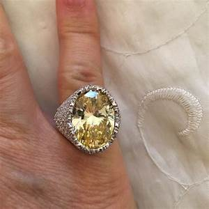 Qvc Jewelry 925 Silver Yellow Diamond Cocktail Ring Sz 5