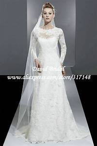 modest a line vintage lace long sleeve wedding dress With modest vintage wedding dresses
