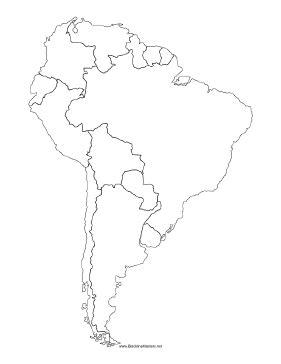 blackline map  south america