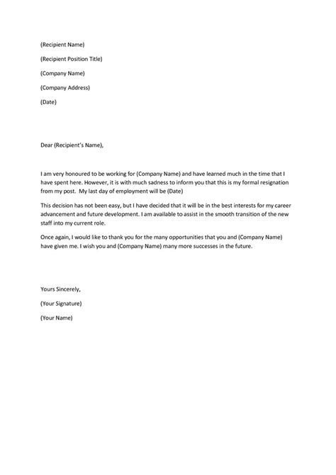 Resignation Letter Template 25 Best Ideas About Sle Of Resignation Letter On