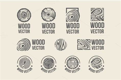 set  wood rings texture logo  alicenoir  creative