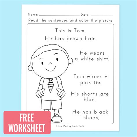 read  color reading comprehension worksheet easy