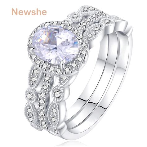 newshe 1 8 ct 3 pcs wedding ring solid 925 sterling silver engagement band classic jewelry