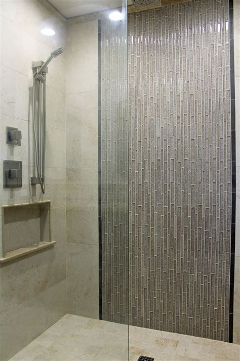 master shower design beige wall tile  gray glass