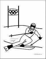 Skiing Coloring Clip Olympics Alpine Downhill Skier Olympic Winter Sports Racing Abcteach Clipart Sport Event sketch template