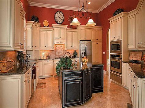red kitchen walls with white cabinets pictures of antiqued kitchen cabinets with red wall