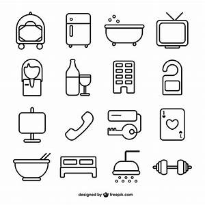 Hotel room line icons Vector | Free Download