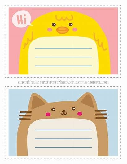 Animal Printable Thank Notecards Note Adorable Cards