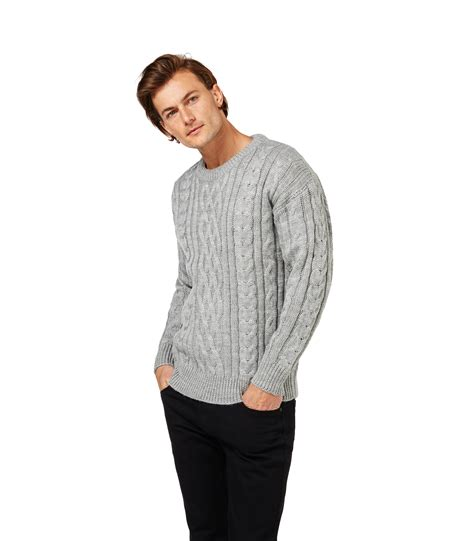 sleeve sweater mens woolovers mens wool aran crew neck sleeve