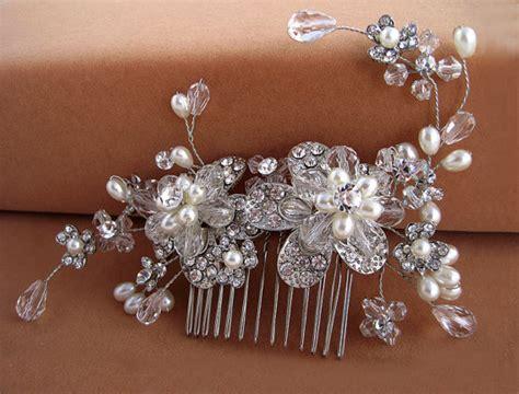 Swarovski Crystal Floral Hair Comb, Crystal Pearl