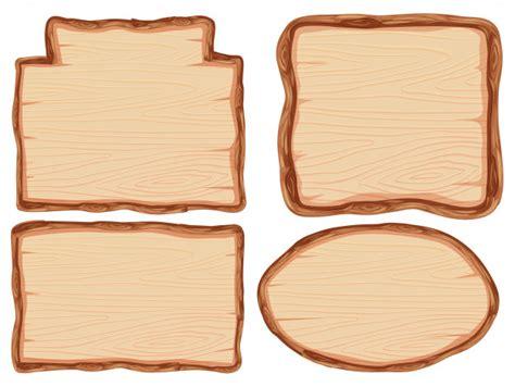 set  wooden banner vector premium