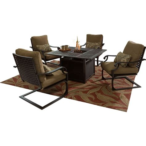 courtyard creations amherst 5 pc fire pit chat set