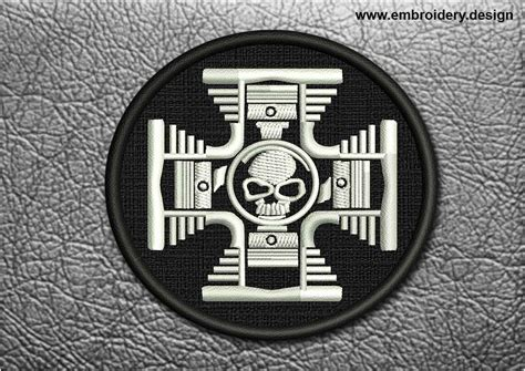 Biker Patch Iron Cross With Skull In Black Circle