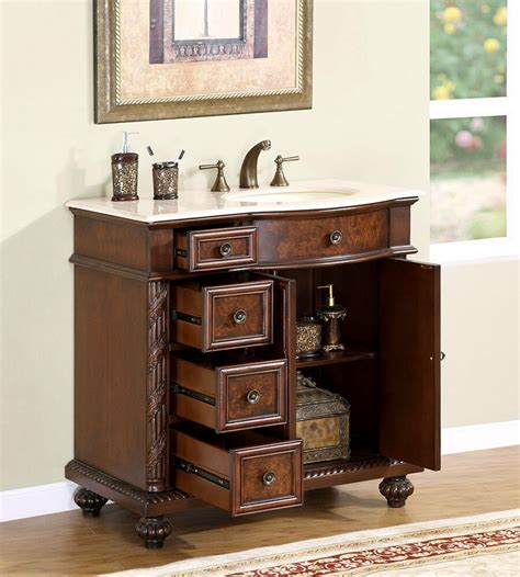Bathroom Vanity With Center Sink by 36 Quot Marble Top Lavatory Bathroom Single Vanity Cabinet