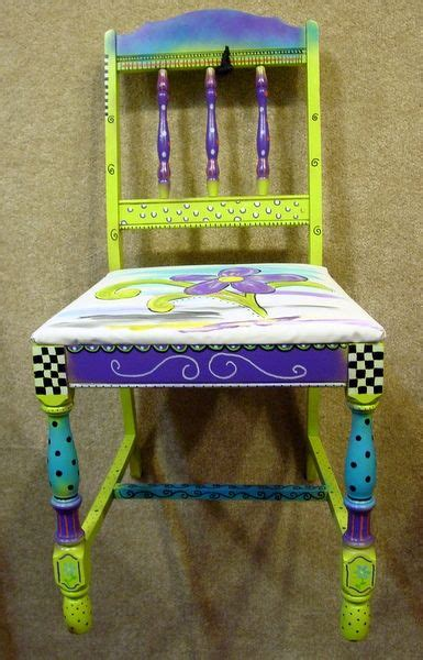 hand painted chair  fabric purple teal lime fai