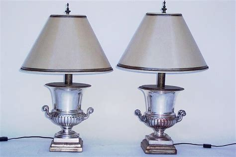 Elegant Pair Of Silver And Copper Urn Lamps For Sale Ruffled Curtain Yellow And Gray Panels Kohler Shower Rods Curtains For Entrance Door Less Thick Purple Length Of Window Ikea Blue