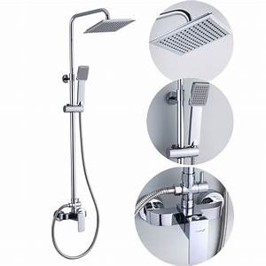 Bathroom Square Rain Shower Set Mixer Taps In Chrome JD