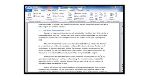 microsoft word of contents creating a of contents in microsoft word 2010