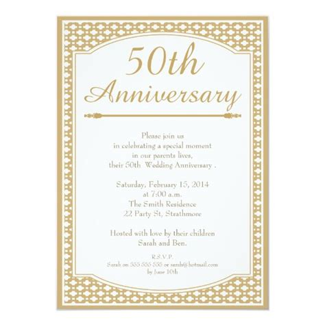 50th Wedding Anniversary Invitation Zazzle com