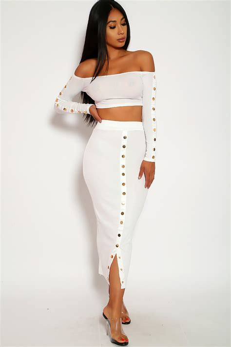 Sexy White Two Piece Outfit Long Skirt Crop Top Long ...