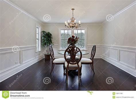 Dining Room With Dark Wood Flooring Stock Photo