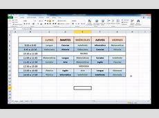 Office 2010 Haz tu horario semanal con Excel 2010