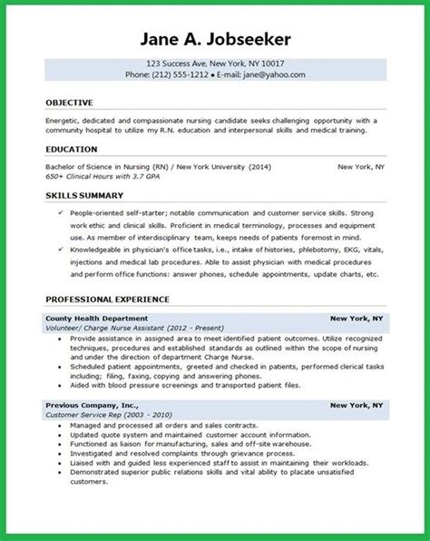 Resume Exles For Nursing Students by Resumes Sles For College Students Template Nursing