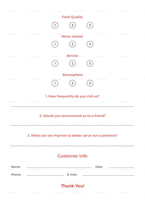 restaurant customer comment card template  psd word