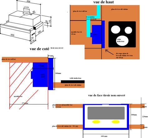 hauteur meuble haut cuisine plan de travail astuce réalisable hotte dans plan de travail pas cher
