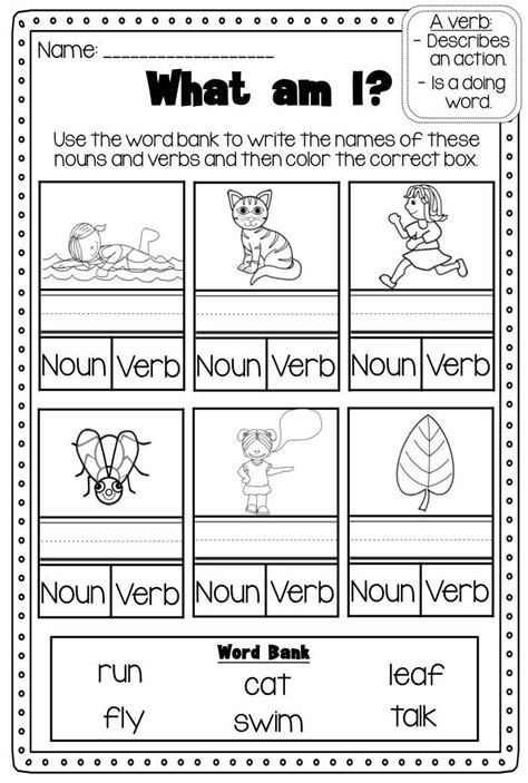 Verbs Printable Worksheet Pack  Kindergarten First Second Grade  Pinterest  Action Verbs