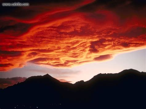 Nature Red Clouds Over Mountains, Picture Nr 17729