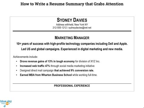how to write a summary for a resume nardellidesign com