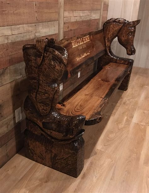 custom chainsaw carved horsecowboy boot bench